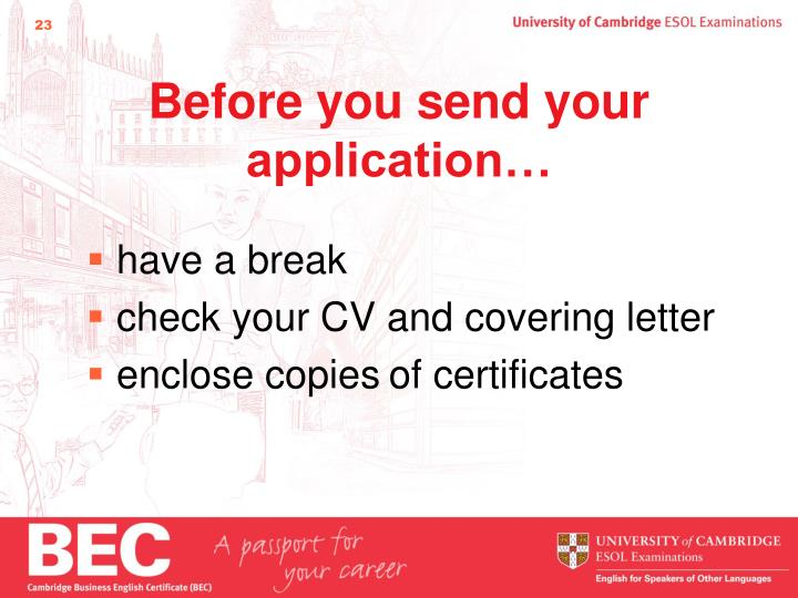 Before you send your application…
