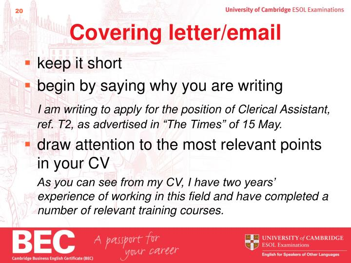 Covering letter/email