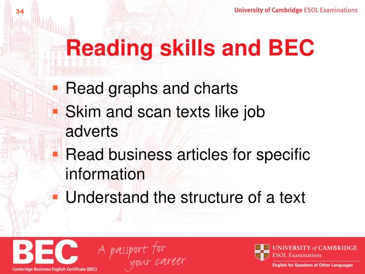 Reading skills and BEC