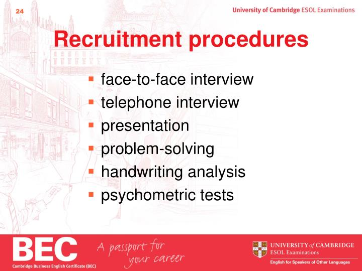 Recruitment procedures