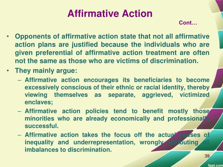 an argument against affirmative action in the workplace The pros and cons of affirmative action – essay sample  arguments have continually been made for and against the installment of affirmative action.