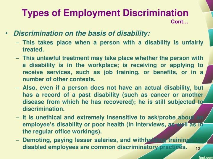types of discrimination in the workplace pdf