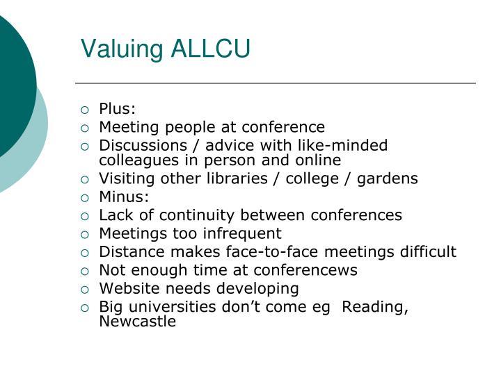 Valuing ALLCU