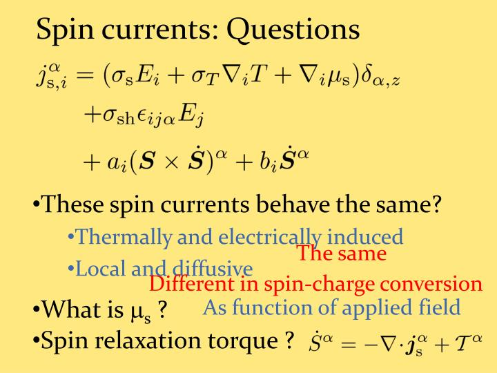 Spin currents: Questions