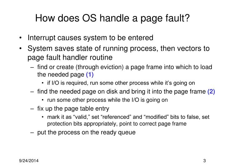 How does OS handle a page fault?