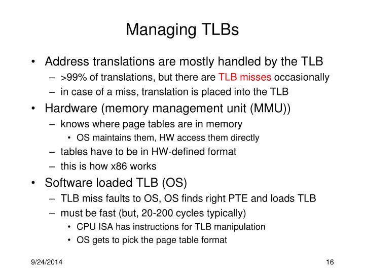 Managing TLBs