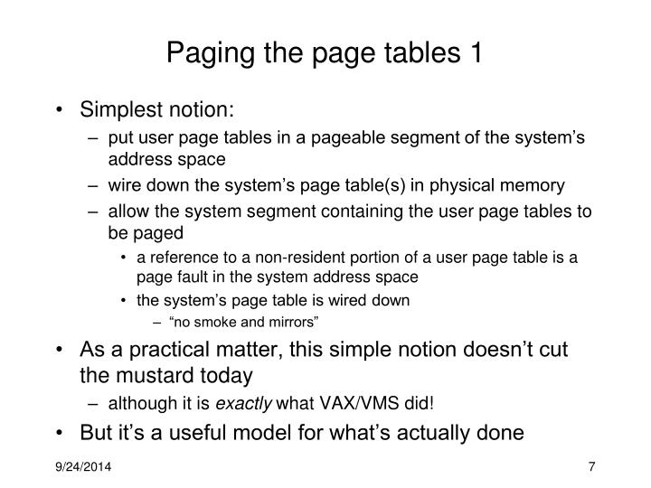 Paging the page tables 1