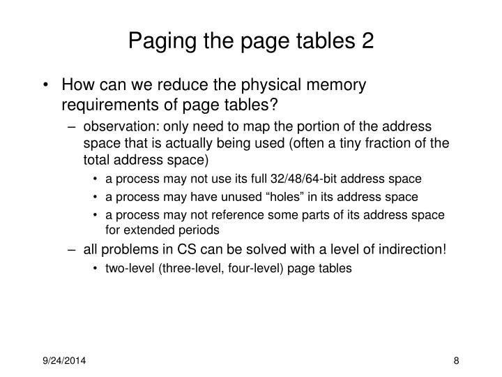 Paging the page tables 2