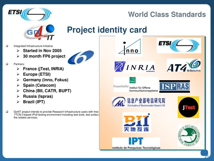 Project identity card
