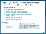 results scope achievements phase 1 ipv6 core