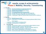results scope achievements phase 2 mobility security transitioning