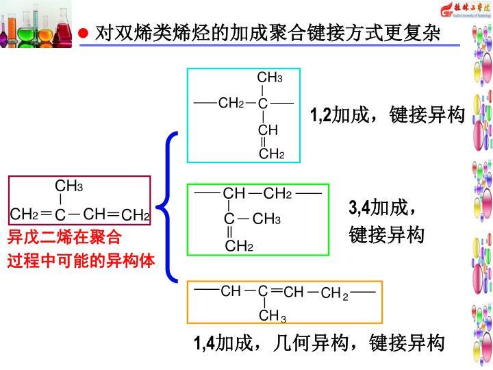对双烯类烯烃的加成聚合键接方式更复杂