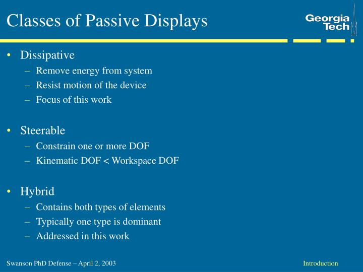 Classes of Passive Displays