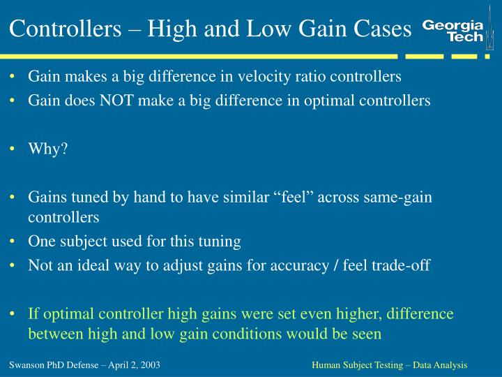 Controllers – High and Low Gain Cases
