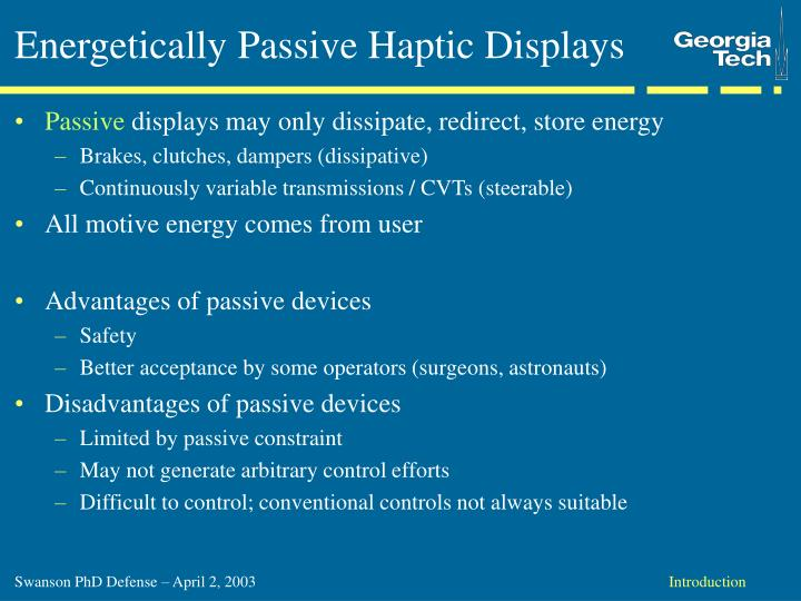 Energetically Passive Haptic Displays