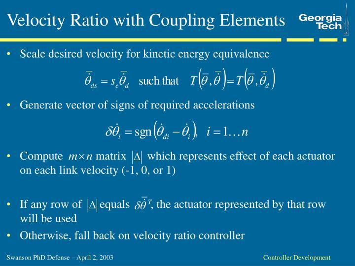 Velocity Ratio with Coupling Elements