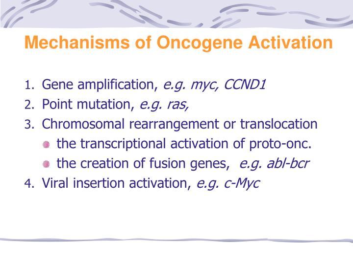 Mechanisms of Oncogene Activation