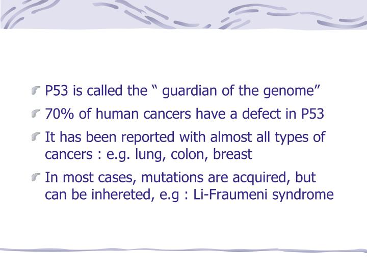 "P53 is called the "" guardian of the genome"""