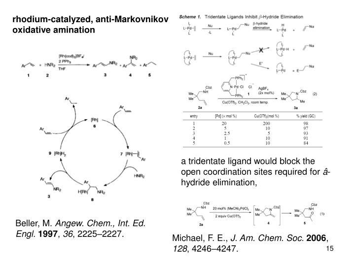 rhodium-catalyzed, anti-Markovnikov oxidative amination
