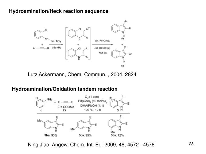 Hydroamination/Heck reaction sequence