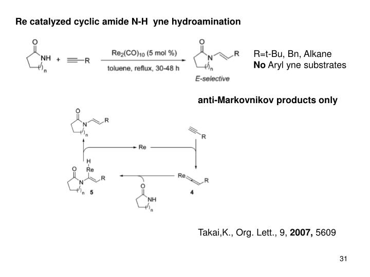 Re catalyzed cyclic amide N-H  yne hydroamination