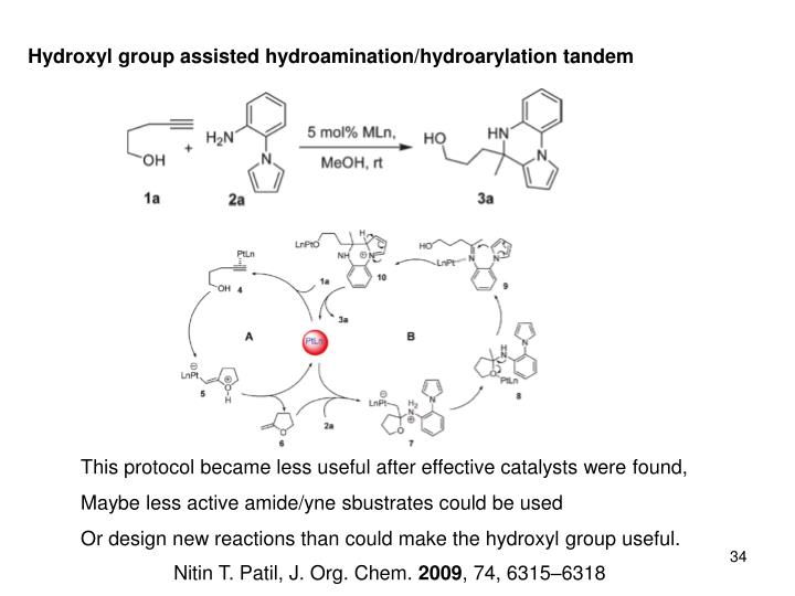 Hydroxyl group assisted hydroamination/hydroarylation tandem