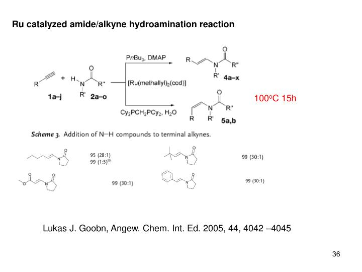 Ru catalyzed amide/alkyne hydroamination reaction