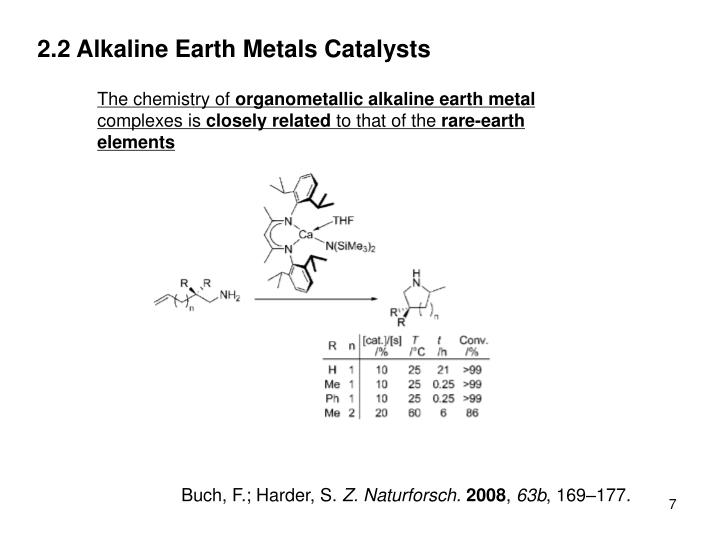 2.2 Alkaline Earth Metals Catalysts
