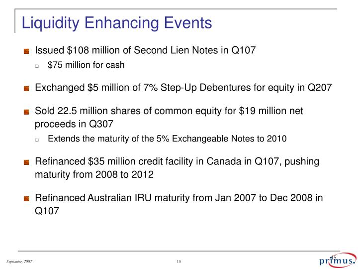 Liquidity Enhancing Events