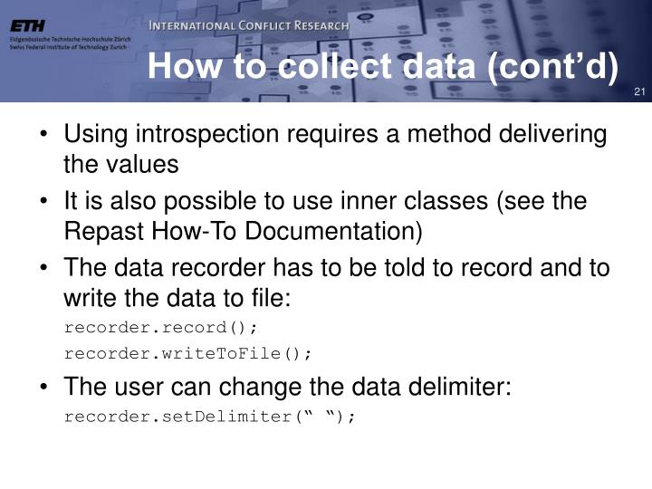 How to collect data (cont'd)