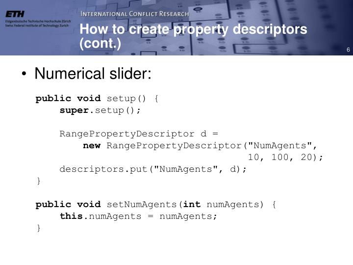 How to create property descriptors (cont.)
