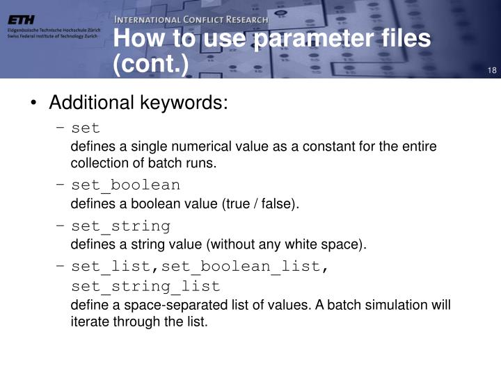 How to use parameter files (cont.)
