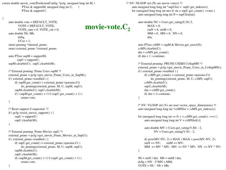 extern double movie_vote(PredictionConfig *pcfg, unsigned long int M, \