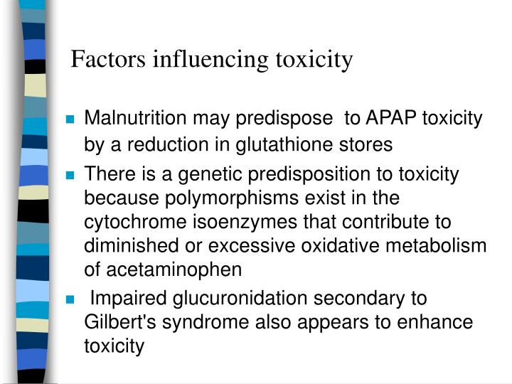 Factors influencing toxicity