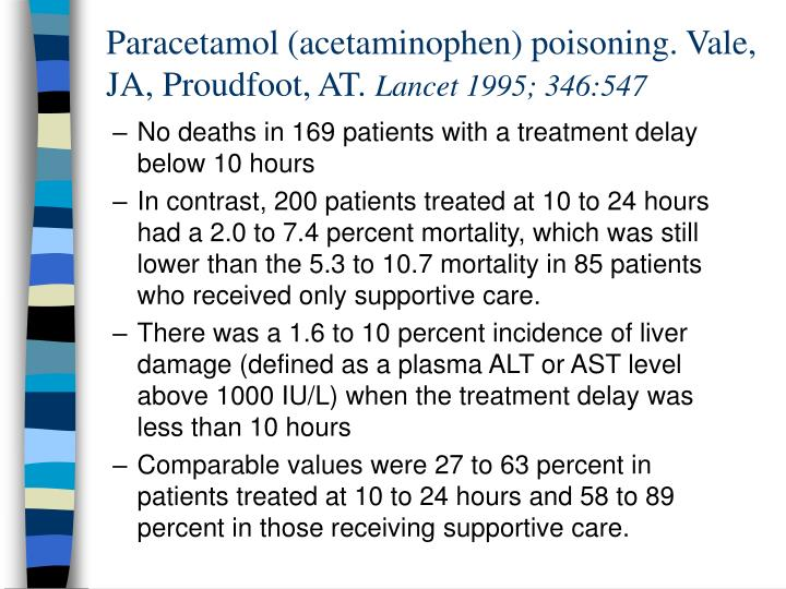 Paracetamol (acetaminophen) poisoning. Vale, JA, Proudfoot, AT.