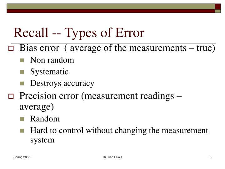 Recall -- Types of Error