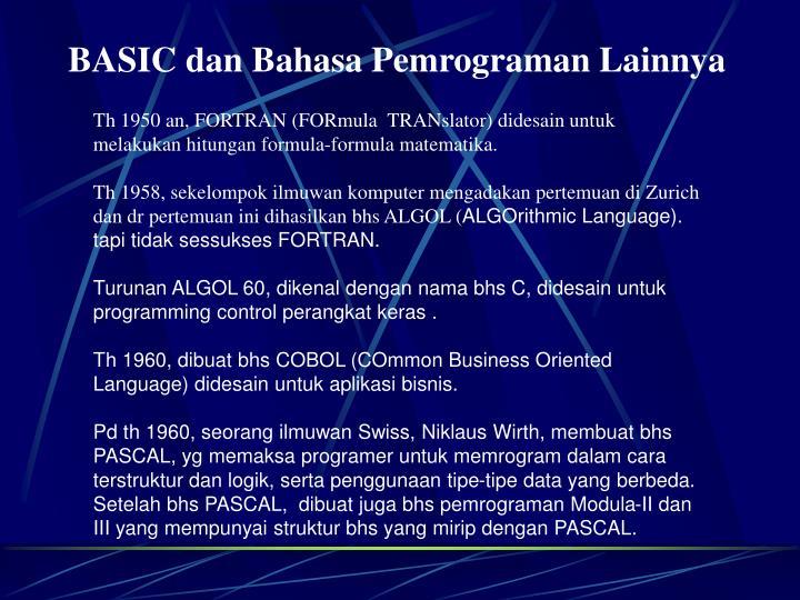 BASIC dan Bahasa Pemrograman Lainnya