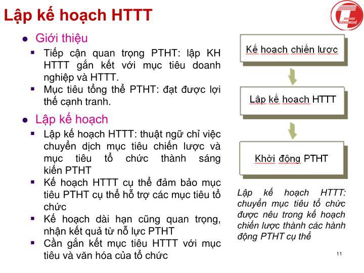Lập kế hoạch HTTT