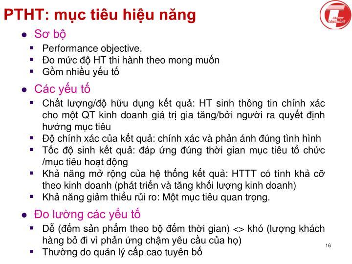PTHT: mục tiêu hiệu năng