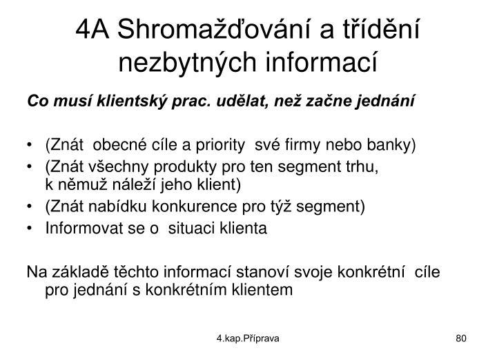 4A Shromažďování a třídění nezbytných informací
