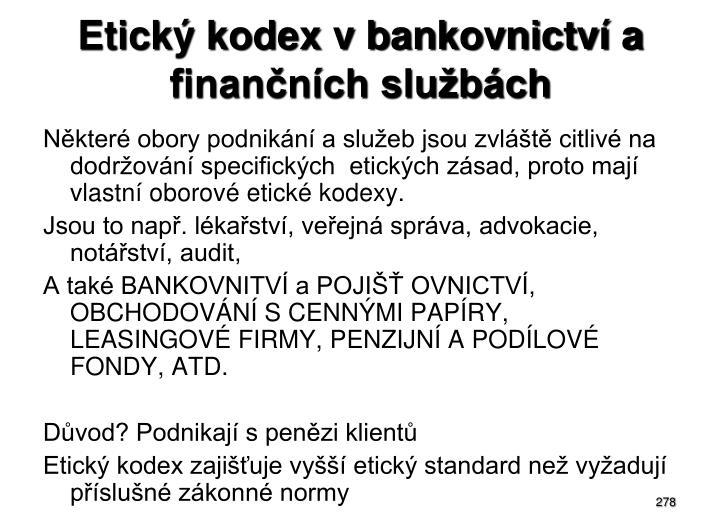 Etický kodex v bankovnictví a finančních službách