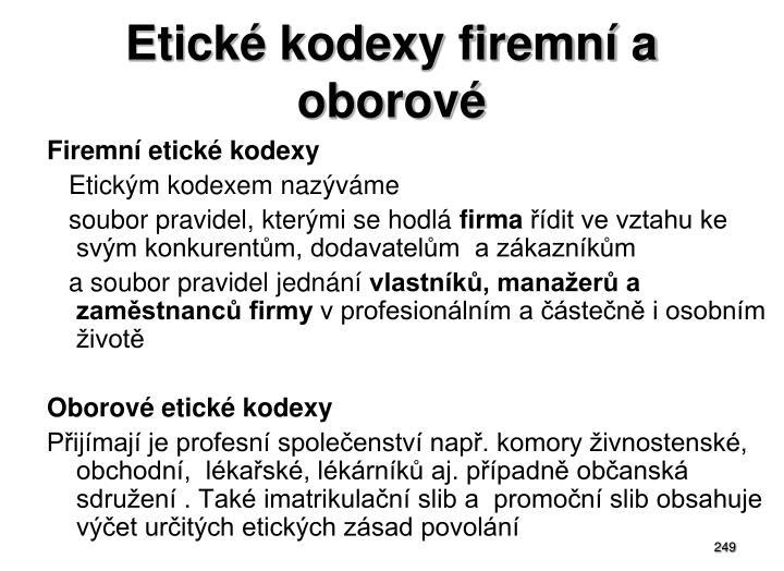 Etické kodexy firemní a oborové