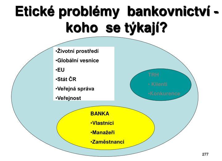 Etické problémy  bankovnictví - koho  se týkají?
