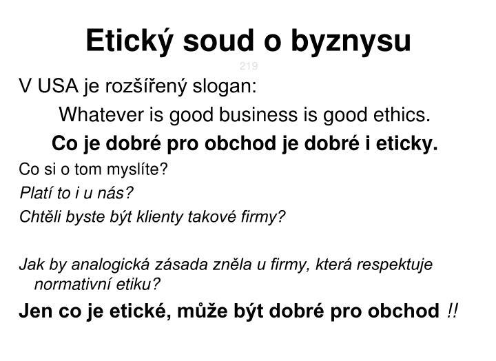Etický soud o byznysu