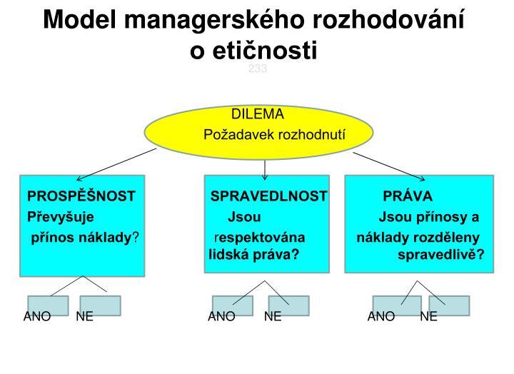 Model managerského rozhodování      o etičnosti