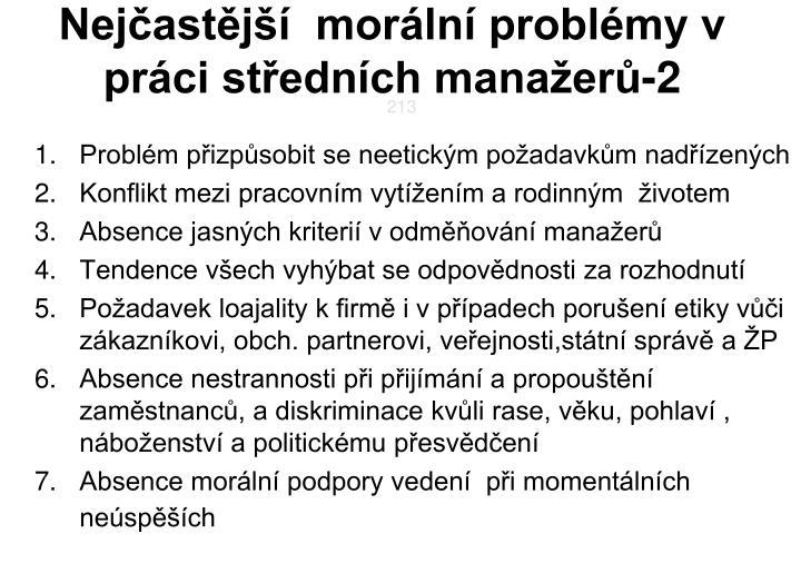 Nejčastější  morální problémy v  práci středních manažerů-2