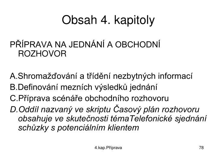Obsah 4. kapitoly