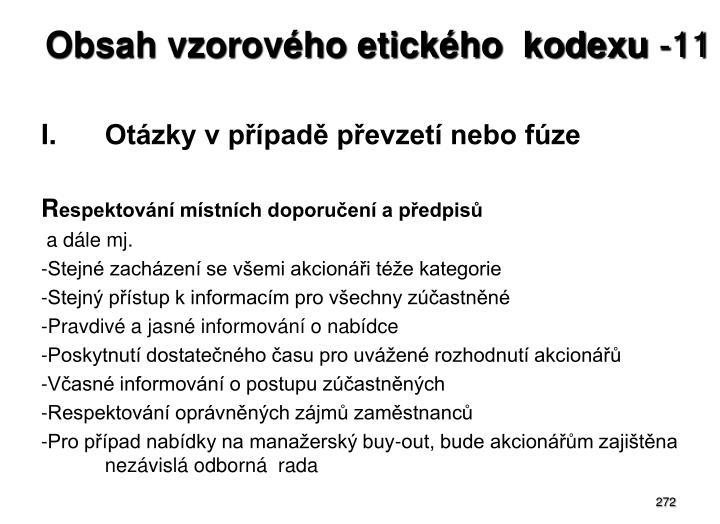 Obsah vzorového etického  kodexu