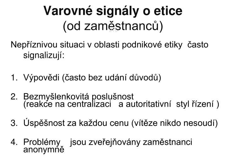 Varovné signály o etice