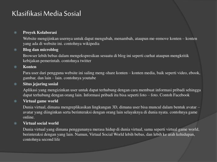 Klasifikasi Media Sosial